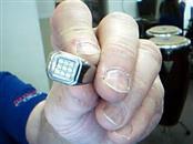 Gent's Diamond Ring 9 Diamonds .36 Carat T.W. Silver Stainless 11g